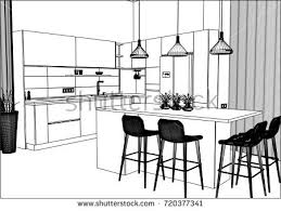Kitchen Design Sketch Interior Handdrawn Sketch Kitchen Table Two Stock Vector 556389109