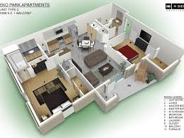 home design 54 3d 2 bedroom apartment floor plans 6 design