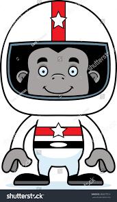 cartoon race car cartoon race car driver gorilla smiling stock vector 286677512