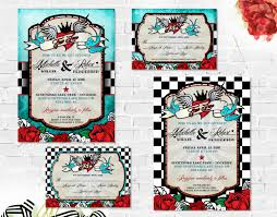 Cheap Wedding Invitations With Rsvp Cards Included Rockabilly Wedding Invitations Set With Rsvp Card Printable