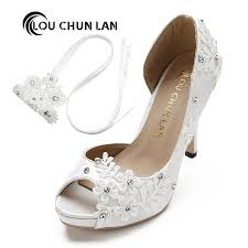 wedding shoes peep toe louchunlan dress shoes women pumps open toe lace wedding shoes