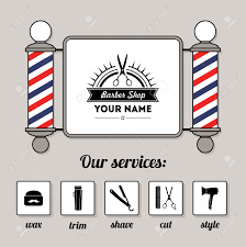 hair salon barber shop sign and services design template set