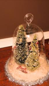 bell jar with lighted brush trees beautiful christmas shabby chic