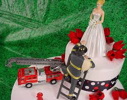 vintage elegant bride and fireman to the rescue groom