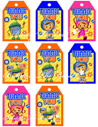 team umizoomi party supplies team umizoomi favor tags team umizoomi thank you tags go