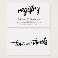 create your own wedding registry bold handwriting script on wedding registry cards wedding card