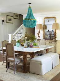 turquoise beaded chandelier cottage dining room with turquoise beaded chandelier
