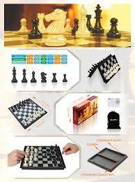 amazon com quadpro magnetic travel chess set with folding chess