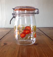 retro glass spice of life 1 litre canning jar hinged lid worn seal