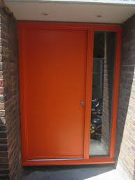 Contemporary Front Doors Contemporary Front Door Hamburg 1 Panel Frame 3 Painted Ral 2009 Traffic Orange Kloeber Funkyfront 34714 Jpg