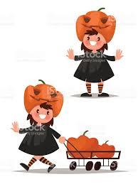 childrens halloween cartoons childrens halloween character pumpkin costume vector illustra