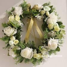 Wedding Flowers Background White Wreath Silk Flower Garland Door Decoration Wedding Flower