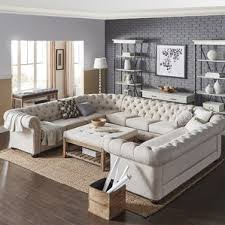 Tufted Sectional With Chaise Beige Sectional Sofas You U0027ll Love Wayfair