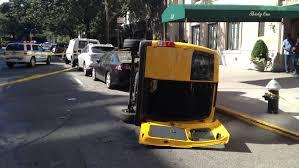lexus taxi brooklyn flipped over cab jpg