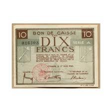 chambre de commerce colmar colmar 68 bon de caisse de 10 francs juin 1940 montay numismatique