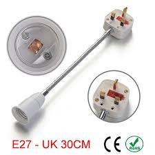 light socket outlet adapter 50pcs e27 to uk plug switches outlets 30cm extender l holder base
