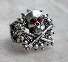 gothic jewelry rings images Goth skull ring gothic jewelry silver ring red ringscollection jpg