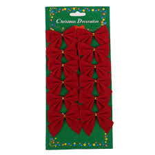 Home Decor Parties 12x Bow Christmas Tree Decoration Xmas Hanging Ornament Bowknot