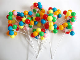 balloon cake toppers 12 stemsplastic colorful balloons cake