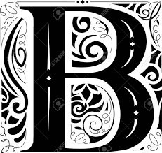 monogram letter b illustration of a vintage monogram featuring the letter b stock