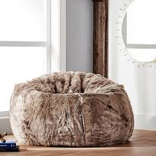 wolf faux fur beanbag pbteen