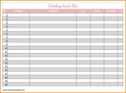 Wedding Invitation Excel Template Wedding Guest List Address Template Excel Wedding Invitation Ideas