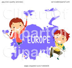 A Map Of Europe Clipart Of Happy Children Around A Map Of Europe Royalty Free