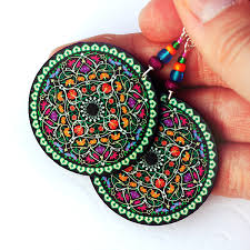 decoupage earrings mandala decoupage earrings purple fuchsia