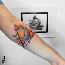 whale on triangle watercolor tattoo ink tattooart