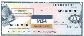 travelers checks images Usa 50 usd visa 1987 specimen travelers check travellers cheque jpg