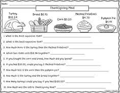 free thanksgiving math for 1st 2nd grade math2