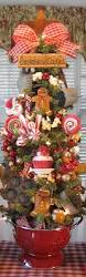 primitive gingerbread candy baking kitchen tree in red colander by