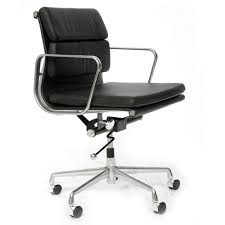 Leather Office Chair Eames Style Soft Pad Leather Office Chair Black Next Day