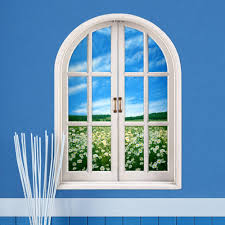 daisy 3d artificial window view pag wall decals flower sea room