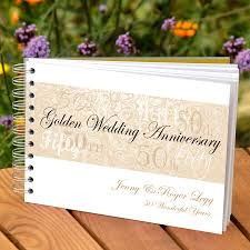 50th anniversary guest book personalized personalised golden wedding anniversary guestbook by amanda
