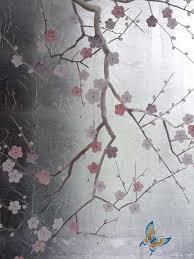 henry van der vijver trompe l oeil murals henry van der vijver trompe l oeil mural of silver leaf metal leaf blossom mural with oriental butterfly hand applied in situ finish interior walls feature walls