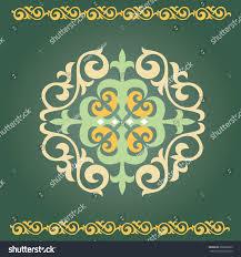 set kazakh asian ornaments patterns decoration stock vector