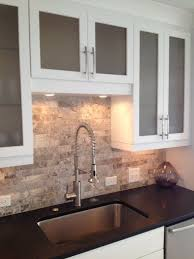 travertine tile backsplash kitchen eclectic with farmhouse sink