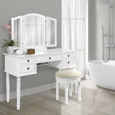bathroom tri mirror vanity table set white u2013 best choice products
