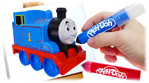color train thomas friends play doh markers drawing