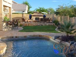 Backyard Gold Pool Remodel Gold Travertine Pavers Barbecue Bar Fireplace