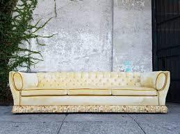 tufted velvet sofa regency yellow tufted velvet sofa sunbeam vintage