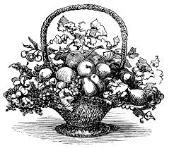 Modern Fruit Holder Basket Of Fruit Clip Art Black And White Clipart Vintage Food