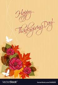 happy thanksgiving day with flowers royalty free vector