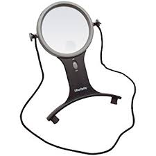 hands free lighted magnifier amazon com ultraoptix lighted hands free magnifier 2 5x with 6x