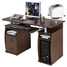 Walnut Computer Desks Homcom Home Office Computer Desk W Elevated