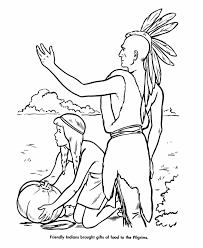 Indian Thanksgiving Indian And Pilgrim Coloring Pages Bible Printables The First