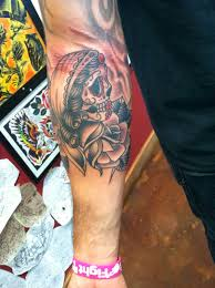 david meek tattoos black and grey sugar skull and rose arm