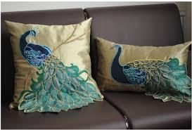 luxury handmade sequins peacock cushion faux silk decorative