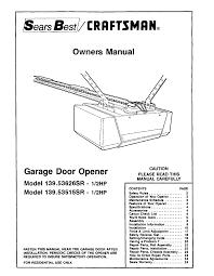 garage door lifter craftsman garage door opener 139 53515sr i 2hp user guide